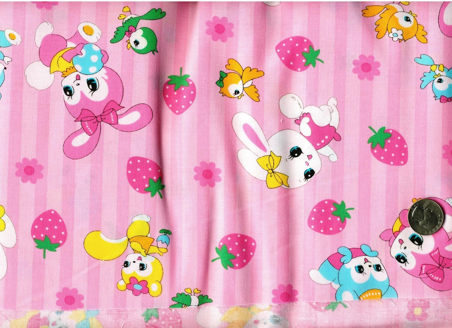 Half Yard Japanese Cotton Fabric Lecien Retro Playful Rabbits Stripes Pink