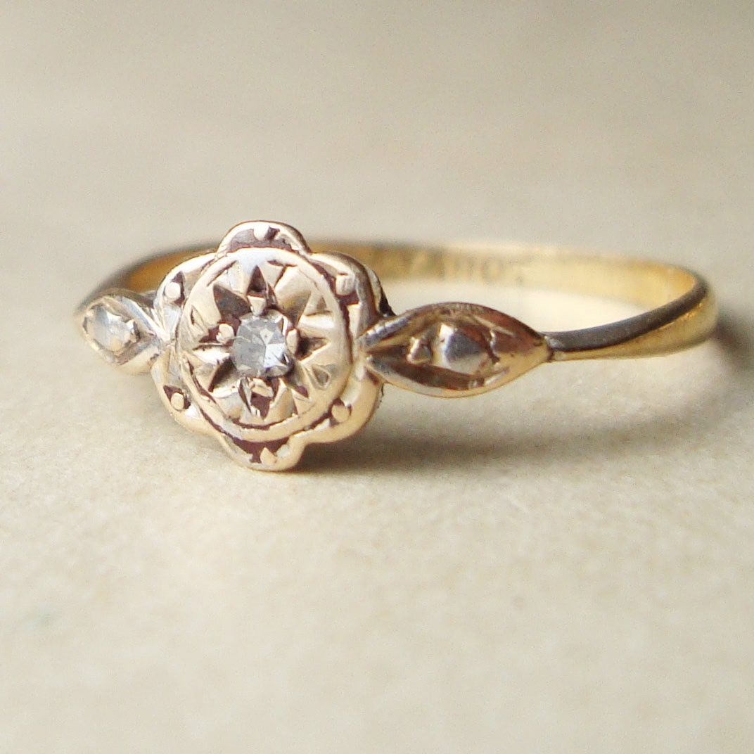 victorian diamond flower ring antique engagement by luxedeluxe. Black Bedroom Furniture Sets. Home Design Ideas