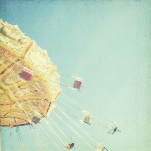 FREE SHIPPING - i dream of flying - 8x8 summer carnival photo, nursery childs room decor, yellow, lemon, pale blue sky, motion, flight, fair