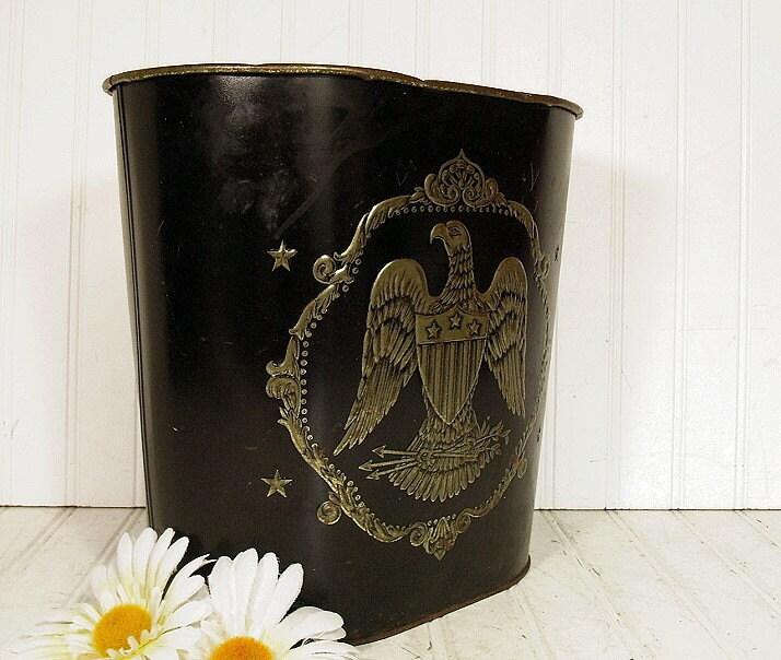Black Enamel Brass Eagle Embossed Metal Waste By