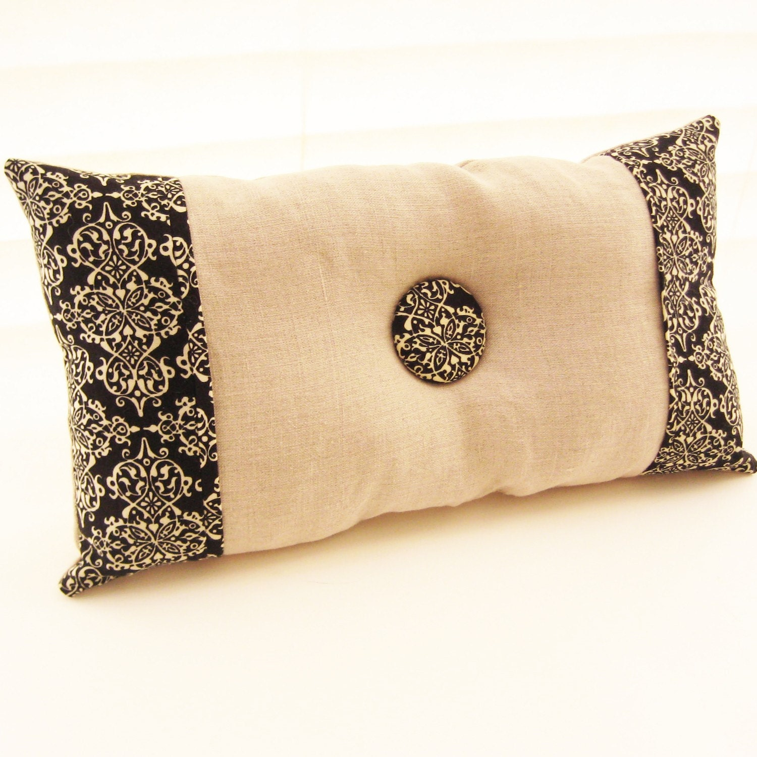Reversible Linen and Damask Pillow