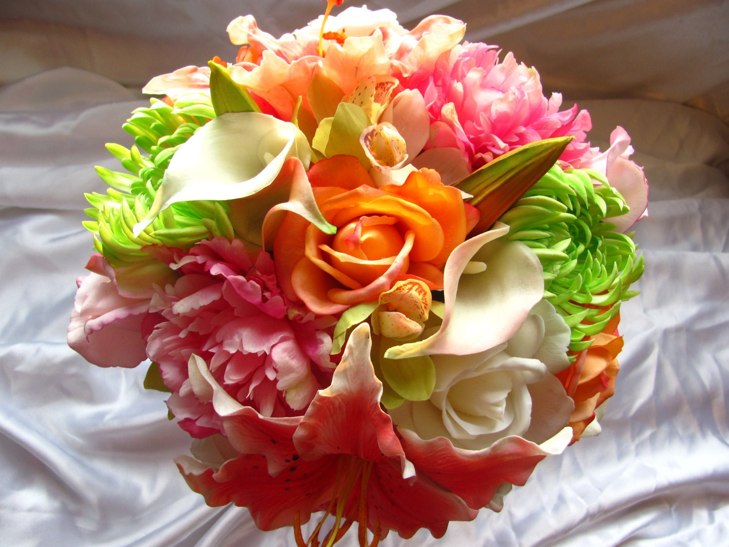 Real Touch Destination Wedding Packages with your choice of flower and ribbon colors,  made to order, packages available