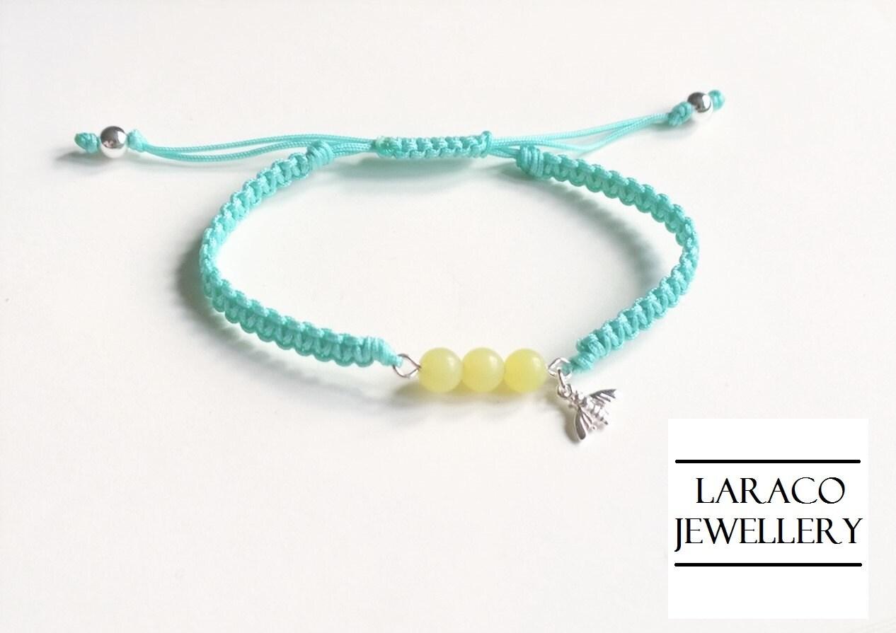 Laraco Jewellery  Sterling Silver Tiny Bee Charm  Lemon Quartz Beads Aqua Green Macrame Friendship Cord Bracelet