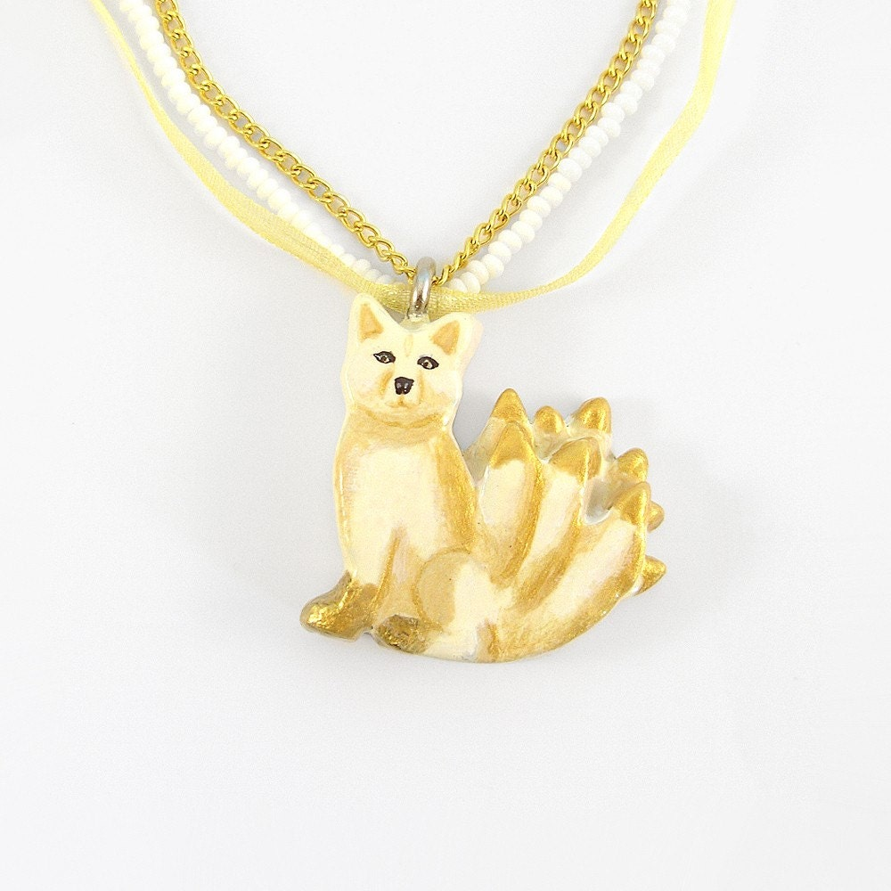kitsune nine tailed fox pendant and necklace by theclaypony