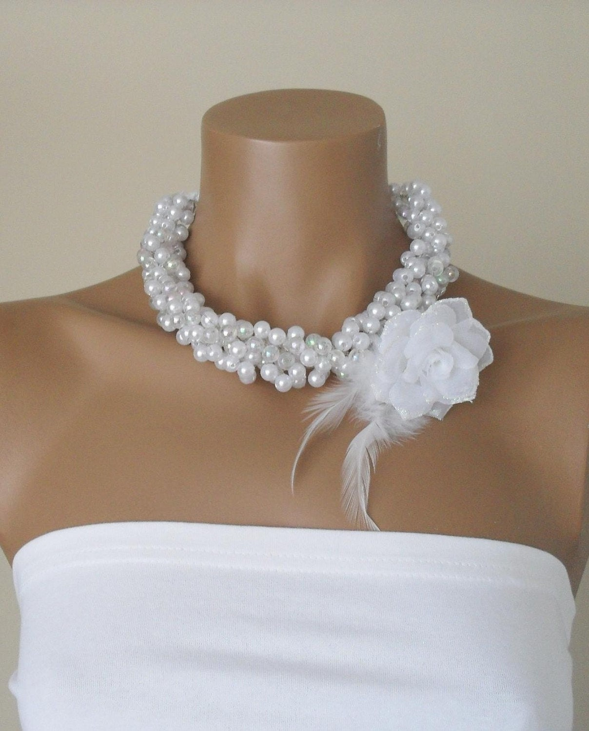 Handmade Weddings  Pearl Necklace Brides Bridesmaids by divaoutlet from etsy.com