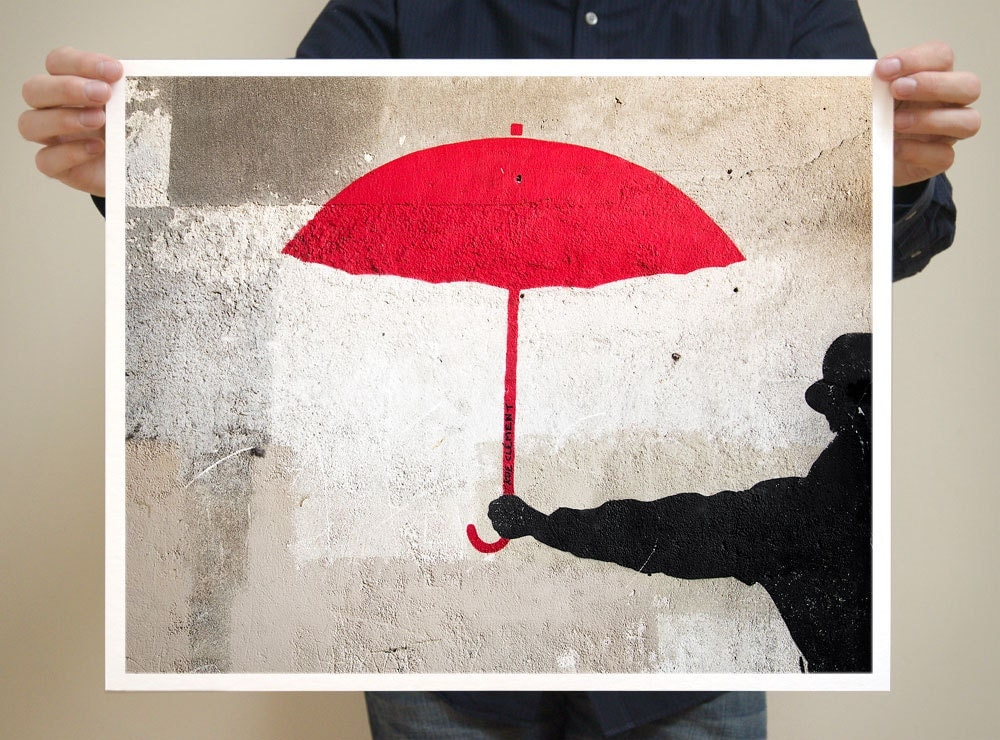 Paris Graffiti, Red Umbrella  - Paris Photography - 16x20 French Photograph Large Art Prints - Modern Print - Red Urban Art