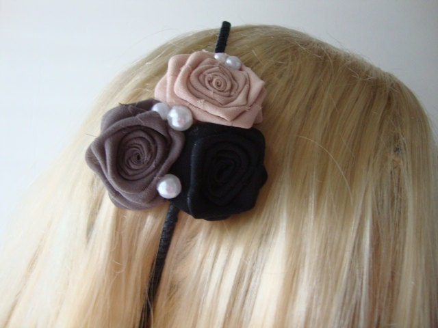Rose Headband Royal Ponytail Holder Head Piece Clip Bobby Pin Comb Bride To Be Rosette Milk Pearl Cream Silk Chiffon Fabric Garden Prom Party Shabby Chic Wedding Flower Floral Bridal Rosebud Something Blue Black Gray Beige Taupe Ivory Pewter Dark Silver