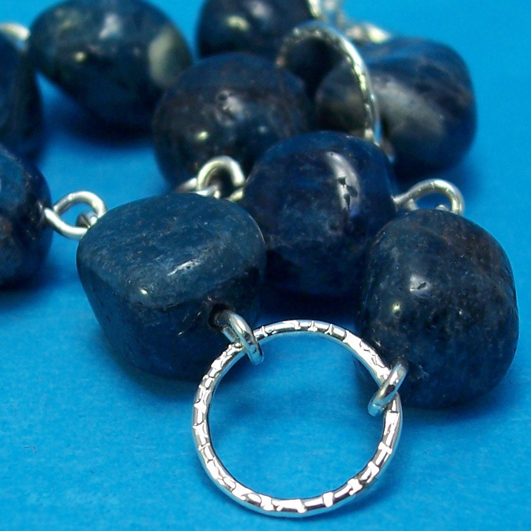 Blue Apatite Nugget Silver Circles Bracelet Plus Size