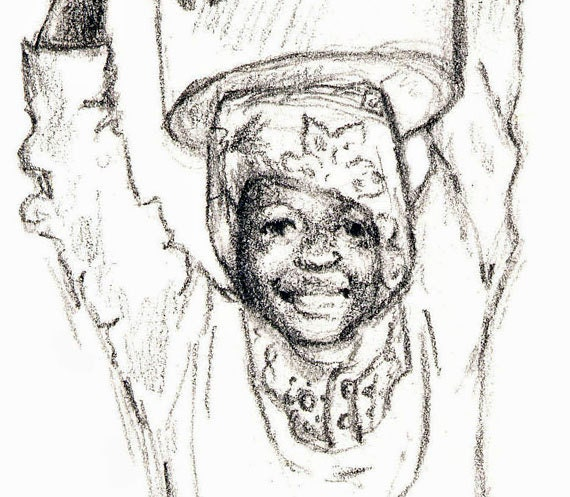 Art Print Charcoal Drawing Of Young By Kwhiteselcreations