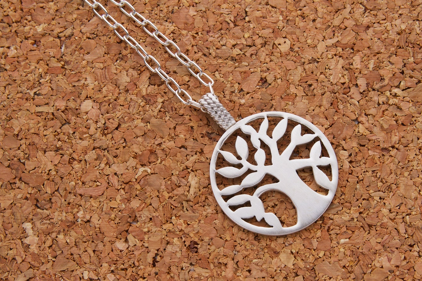 Argentium Silver Tree of Life Pendant with Sterling Silver Chain