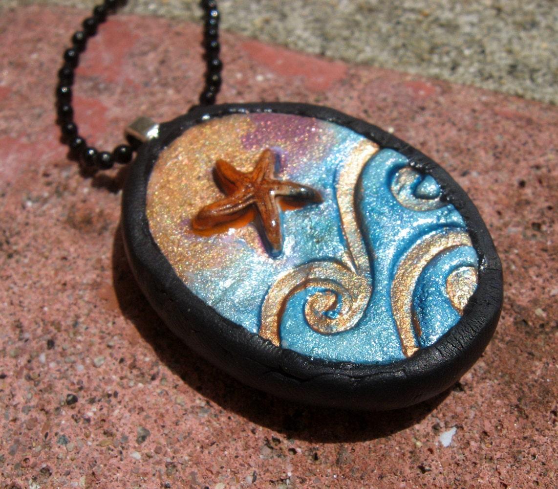Starfish and Waves Raku Inspired Necklace