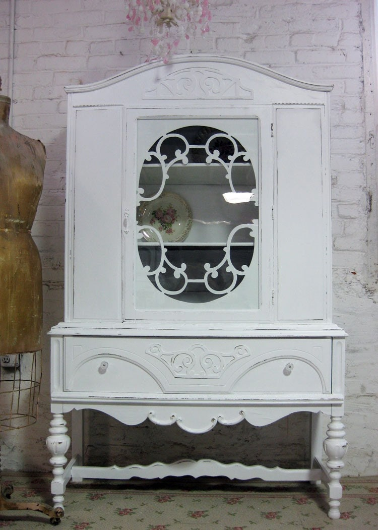 RESERVED FOR  abbyrob1   VIntage Painted Cottage Shabby White Fancy China Cabinet  CC104