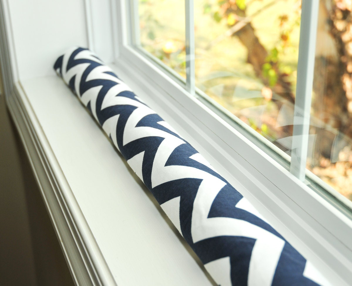 Door Draft Stopper Draught Excluder Navy Blue White By