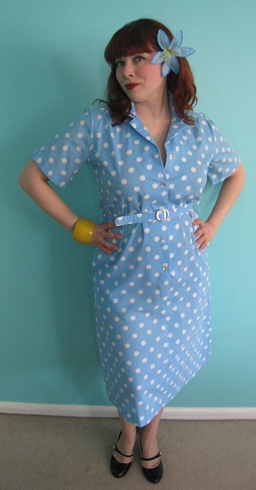 Polka Dot Vintage Maid Dress LARGE