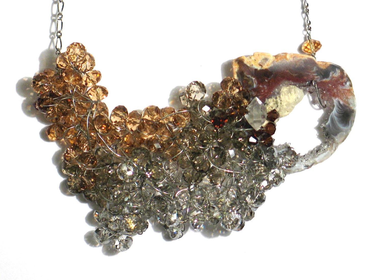 Crystal Cluster Druzy Geode Necklace (Cyllene)