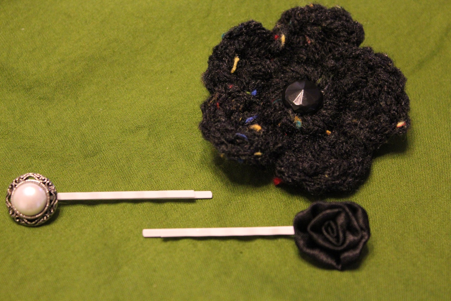 Set of Three Hair Pins in Classic Black & White