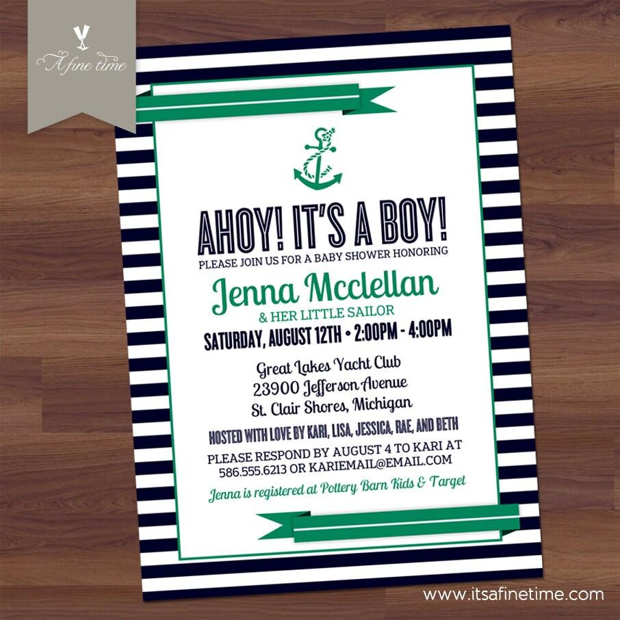 items similar to baby shower invitation ahoy it 39 s a boy nautical