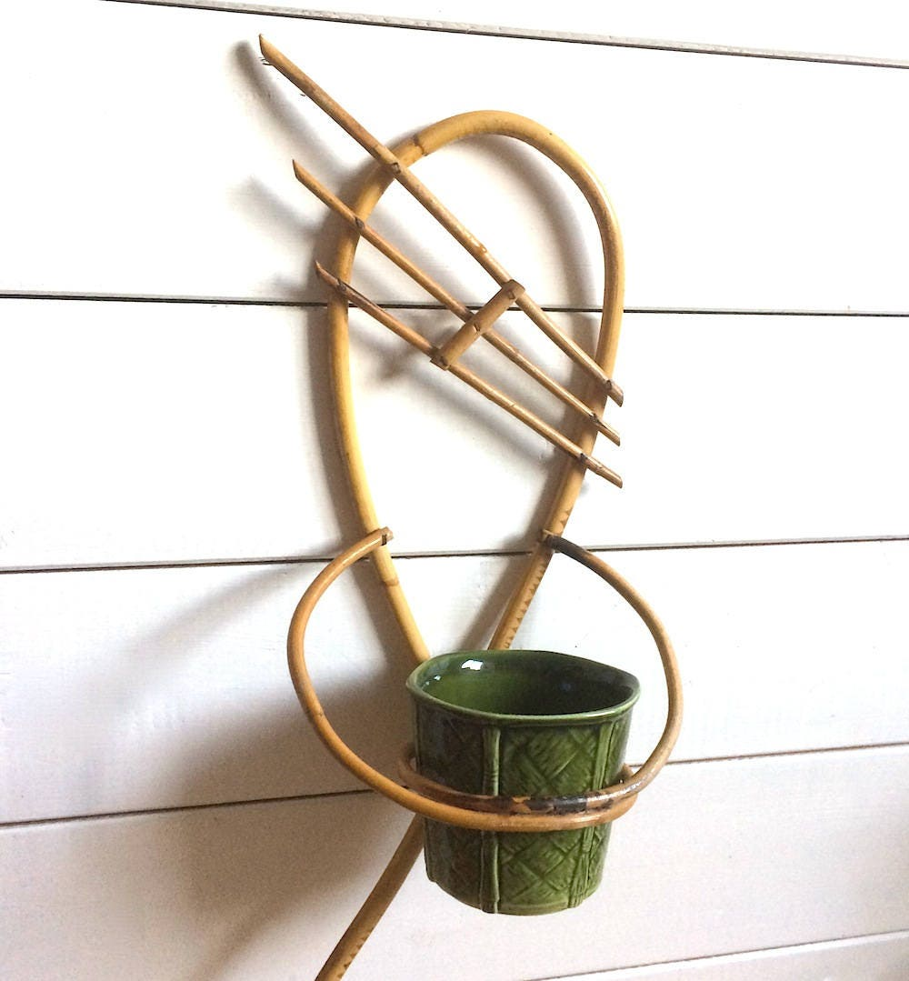 1970s Bamboo Cane Plant Pot Holder with Pot  Wall Mounted