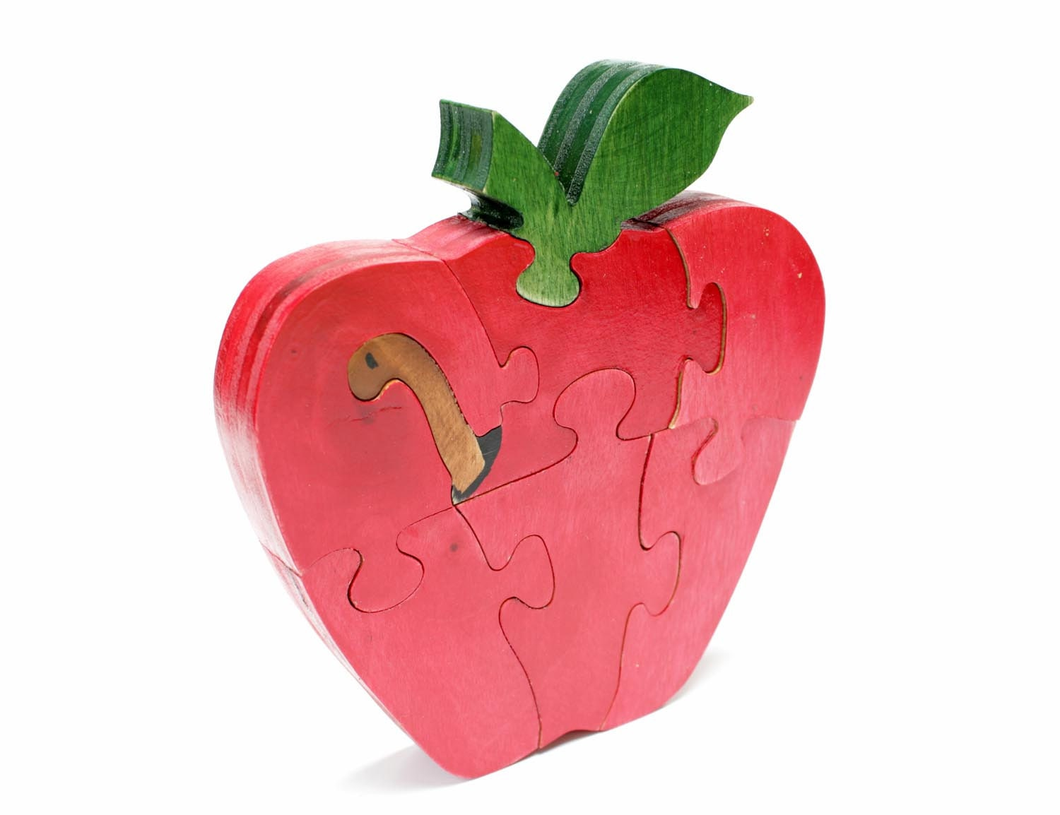 Red Standing Apple Puzzle with Worm - Children's Room Decor - berkshirebowls