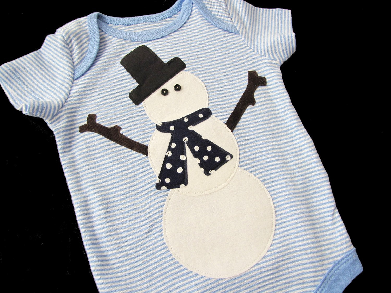 LAST ONE...WINTER SNOWMAN.... ONEZIE size 0-3 months