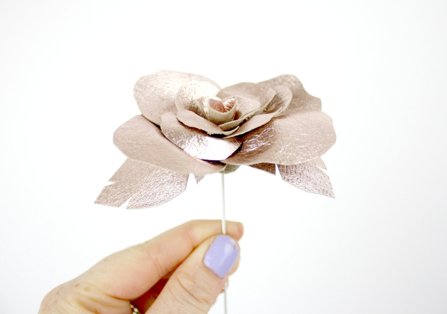 3rd anniversary handmade leather rose  3rd anniversary gift  anniversary flowers  single stem flower  interior decoration
