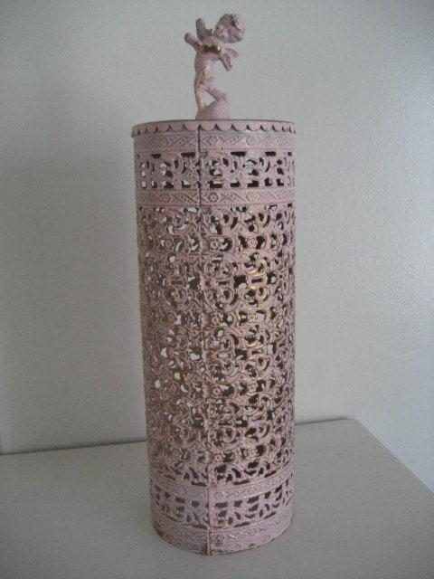 Vintage Pink Distressed Filigree Dresser Vanity Hair Spray Cover Cherub Angel Top