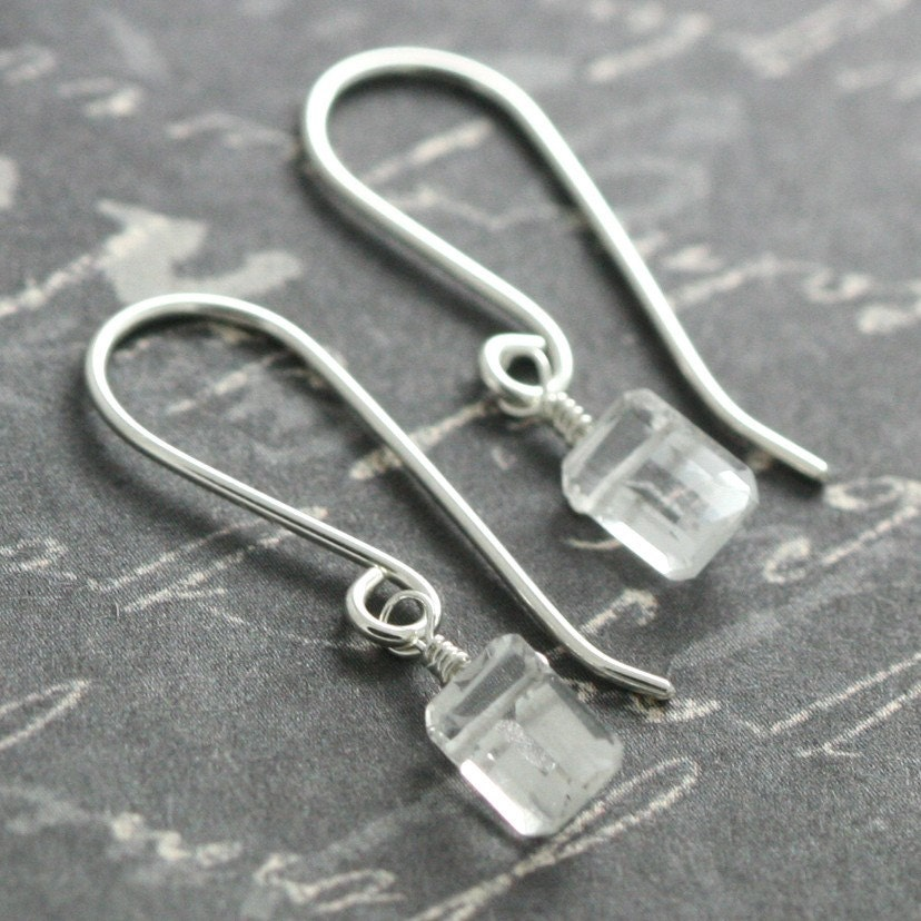 Handmade Jewelry on Etsy - Sleek Crystal Quartz Earrings s09e167 by lavajewelry from etsy.com