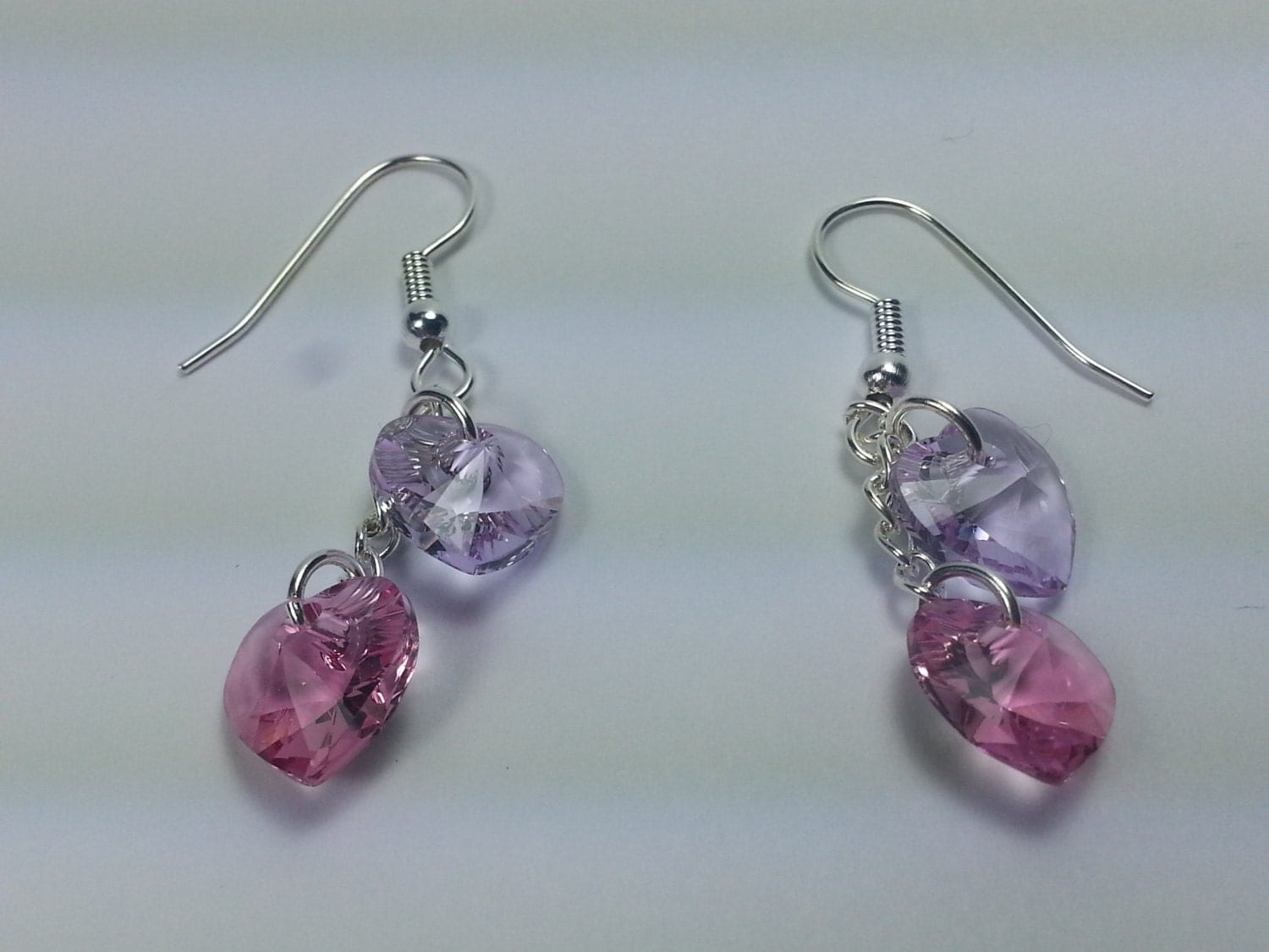 Hearts in Pink and Violet Earrings - AnniesJewelryDezign