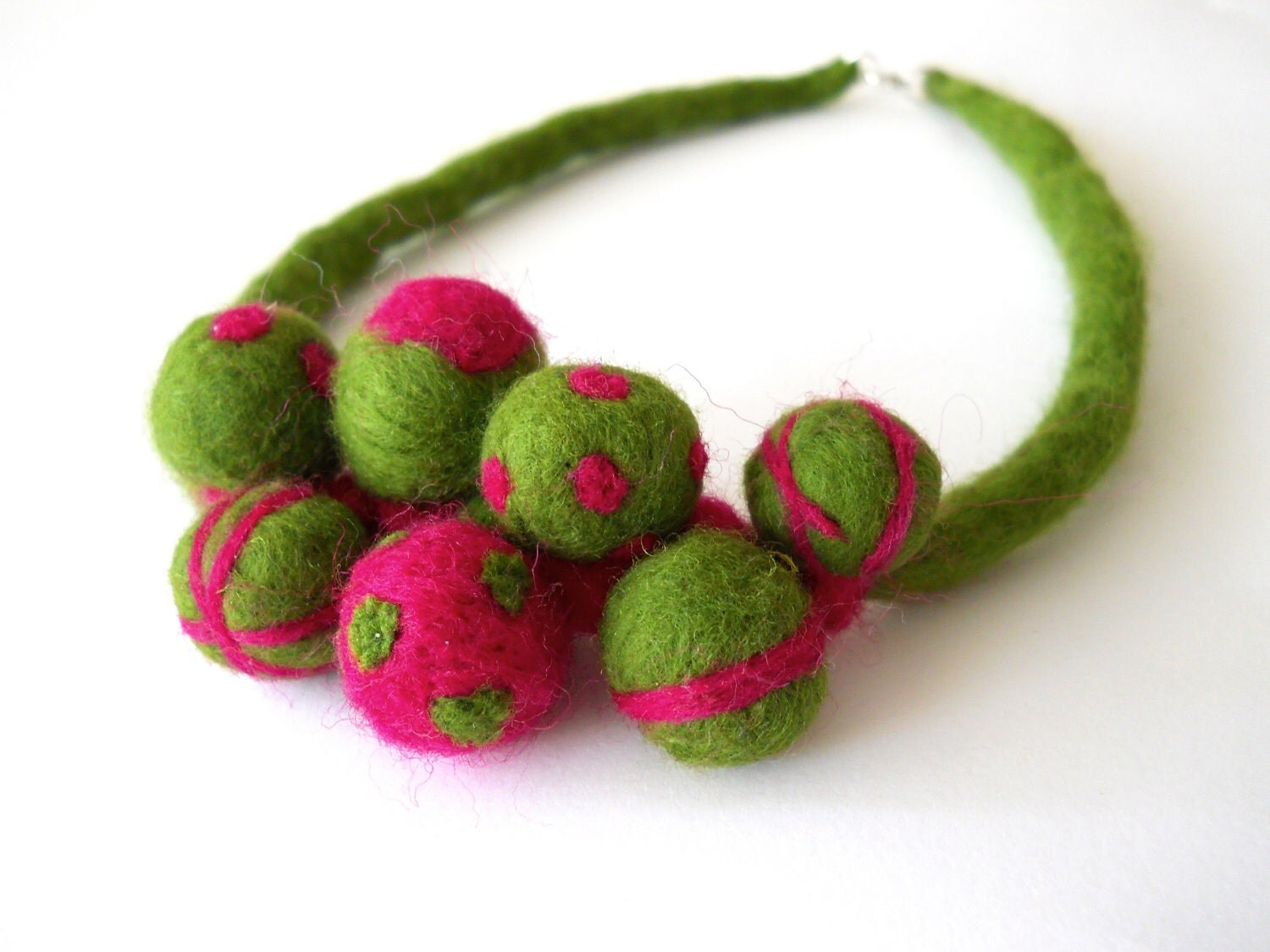 Felted Necklace green pink felt balls beads  gifts for by dodoo from etsy.com