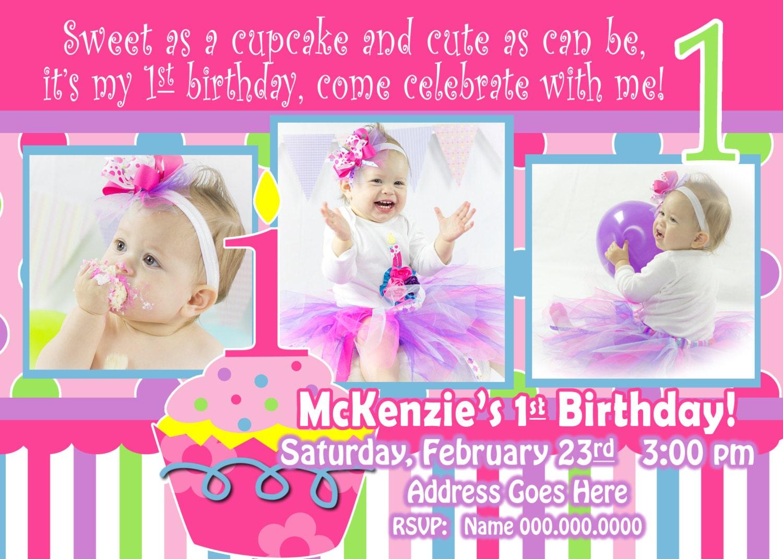 Birthday Sweet Cupcake Girl's 1st Birthday invitation Cupcake Girl ...