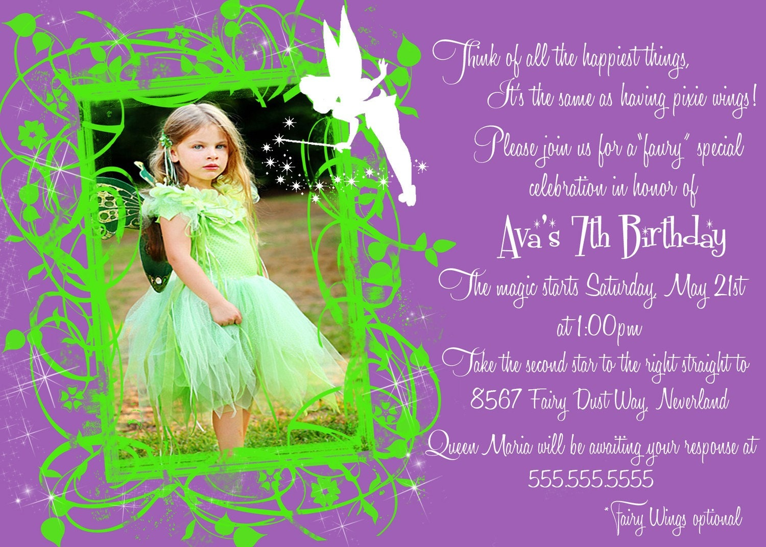 40th birthday ideas birthday invitation templates tinkerbell photo birthday invitations stopboris Choice Image