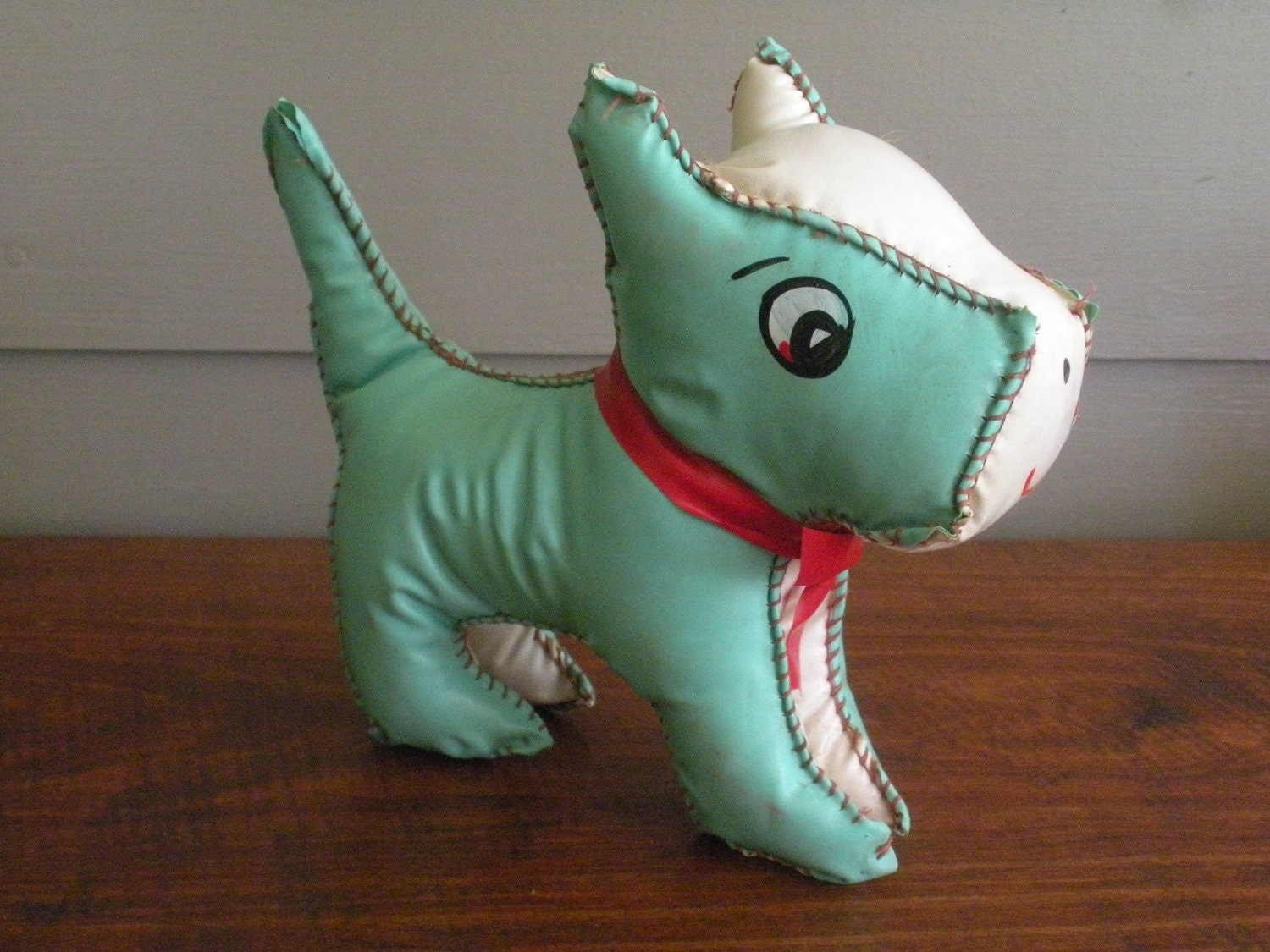 Vintage 1940s Faux-Leather Aqua and White Scottie Dog Toy - Swansdowne