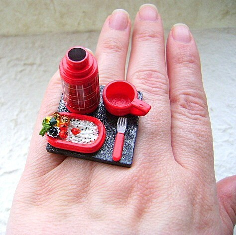 Kawaii Cute  Japanese Ring - Bento Lunch And a Thermos