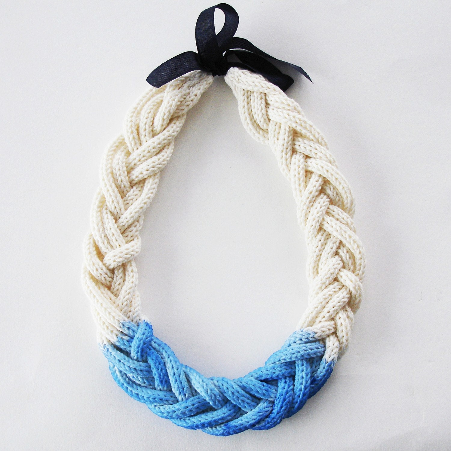 Six Cord Dip Dye Necklace in organic fairtrade cotton - choice of colours