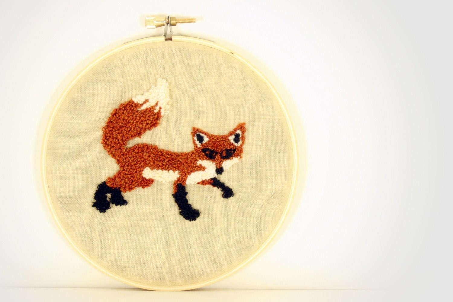Fox Punch Needle Embroidery Wall Hanging 5 inch hoop by erinf115 on Etsy
