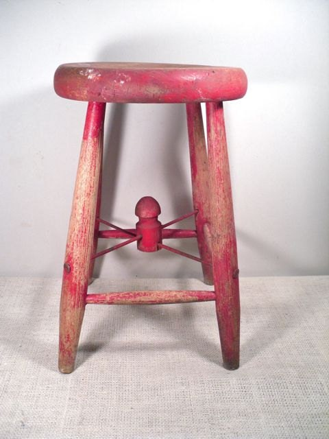 Hassock Table Vintage Painted Farm Stool Wood Milk Stool by perfectpatina
