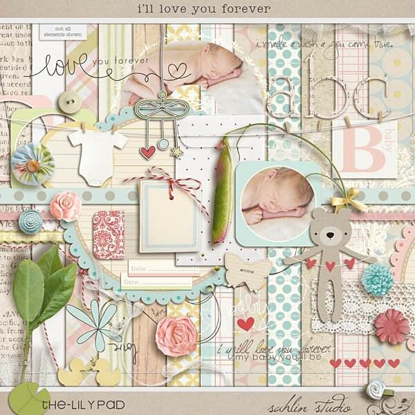 Love You Forever Children. i'll love you forever - Digital Scrapbooking kit for baby, children, invitations, card making, hybrid, collage. From sahlink