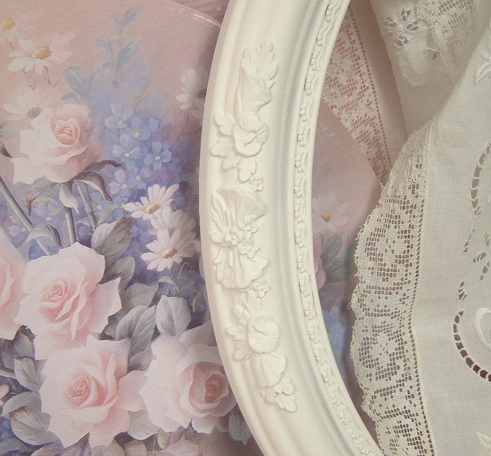 Vintage Shabby Chic Picture Frame Ornate Cottage White With Soft Pink Roses Chiu Art Print Wedding