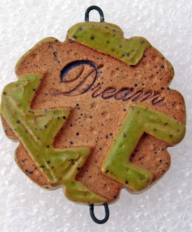 DREAM in Lime Green and Natural Stoneware - BEAD