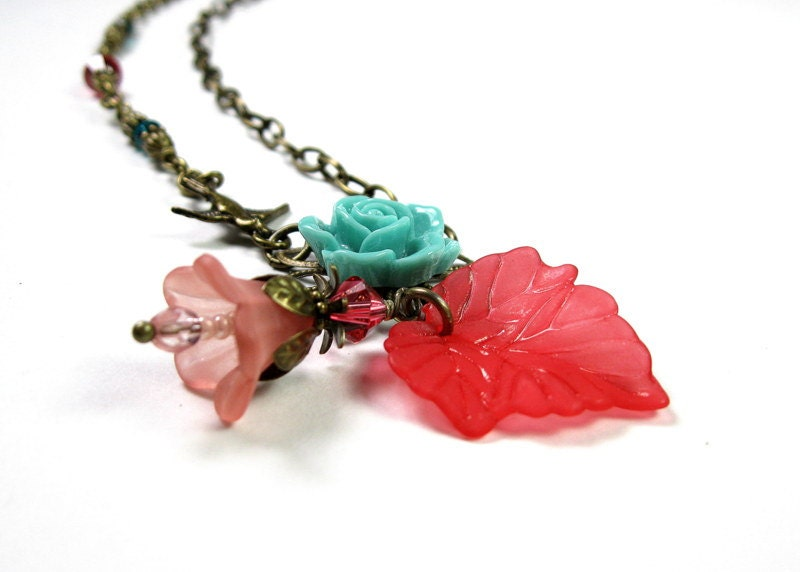 Vintage Style Flower Necklace, Blue Green, Coral