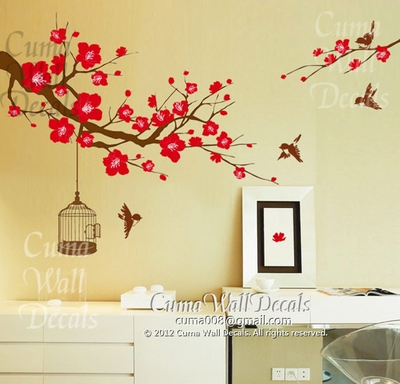 flower wall decal tree wall decals flower vinyl wall decals birdcage ...
