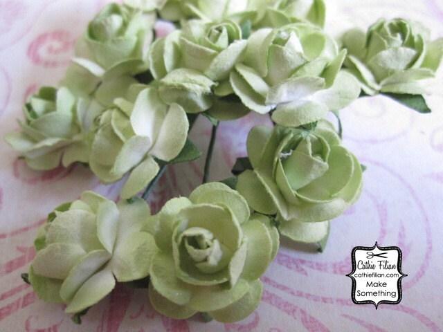 36 мини - Античный Зеленый бумажные цветы - мини-букет