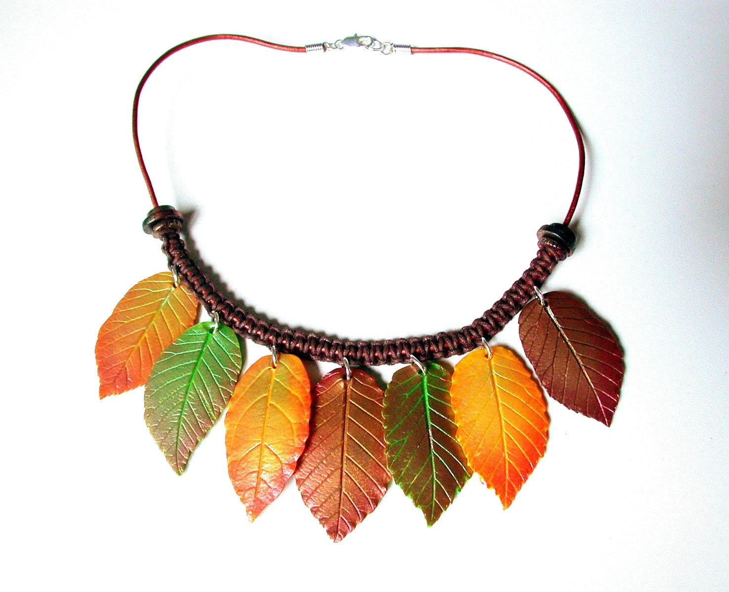 Polymer Clay Necklace Fall Leaves. - SilviaOrtizDeLaTorre
