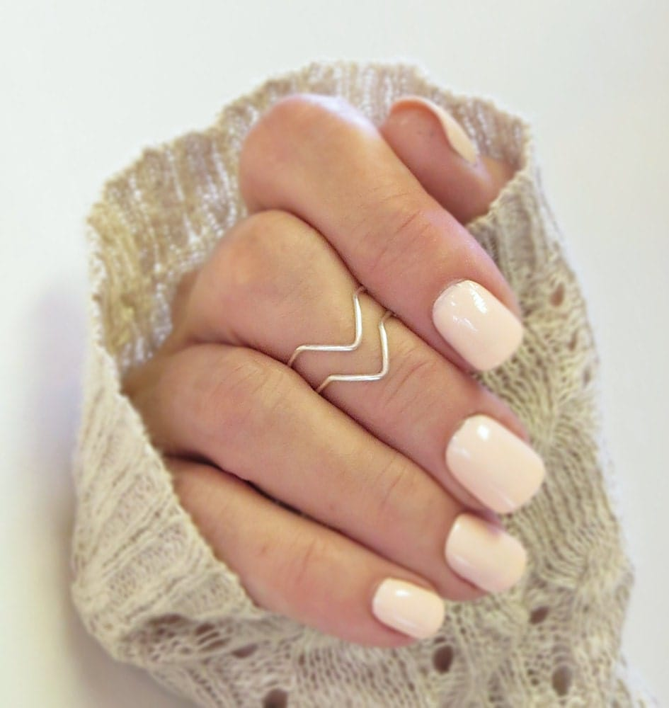 Knuckle Ring Set of 2, Chevron Above the Knuckle Rings, Midi Stacking Dainty Rings Silver or Gold Rings - DurangoDreamDesigns