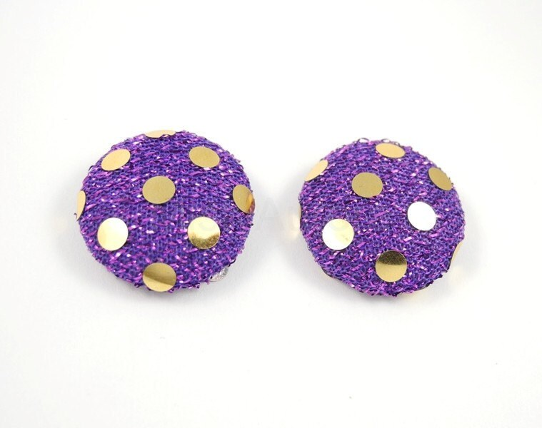 Purple and Gold Earring Studs Mesh Fabric and Gold Foil Spots Free Shipping Etsy - MistyAurora