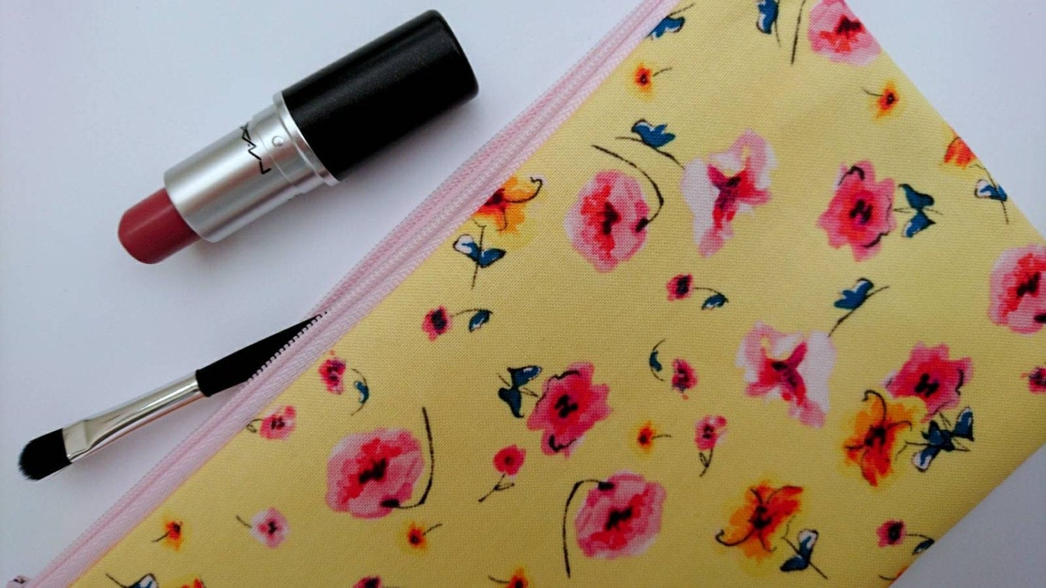 Girlfriend gift yellow makeup bag floral toiletry bag floral zipper pouch cotton travel pouch yellow gift
