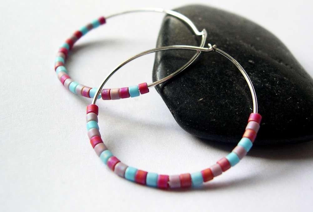 Sterling Silver Hoop Earrings - Red, Pink, Aqua Blue, Matte Glass Seed Beads