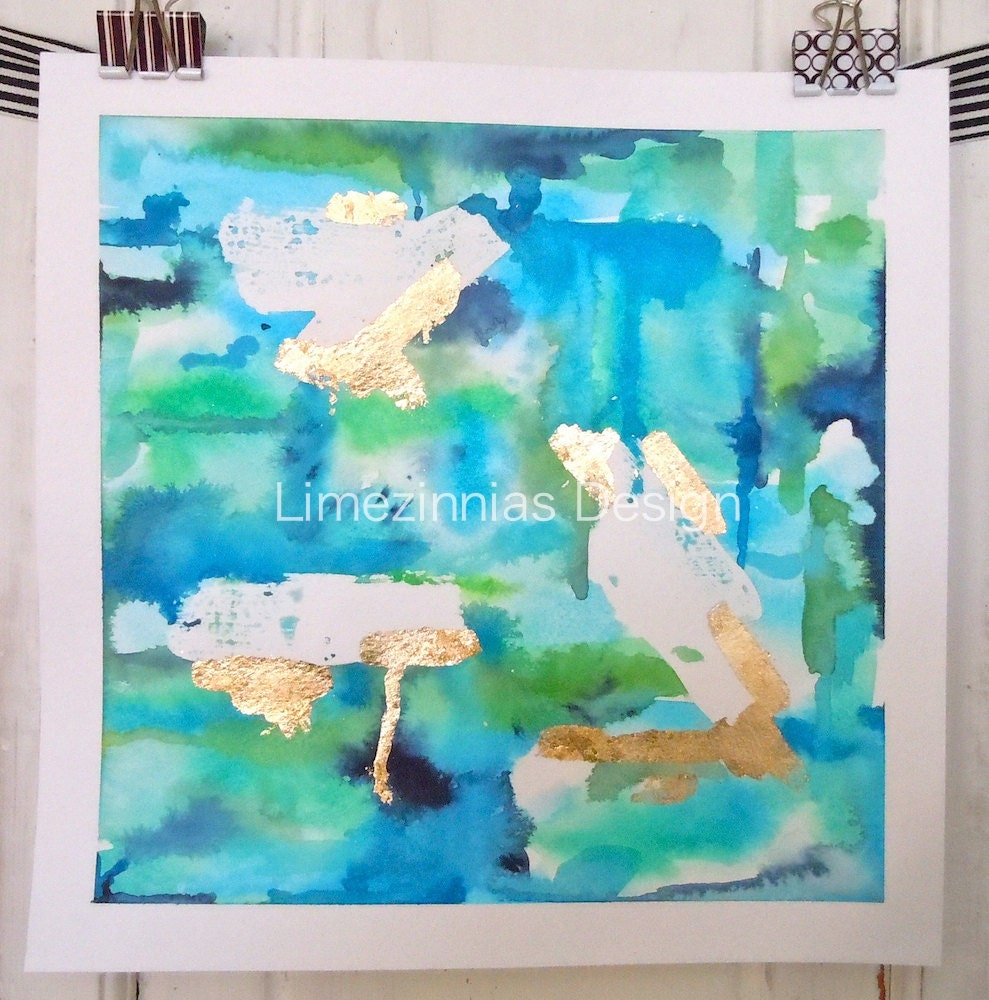 Turquoise Abstract Original Watercolor Painting - 12x12