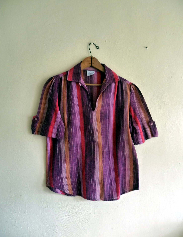 southwestern summer stripe blouse top