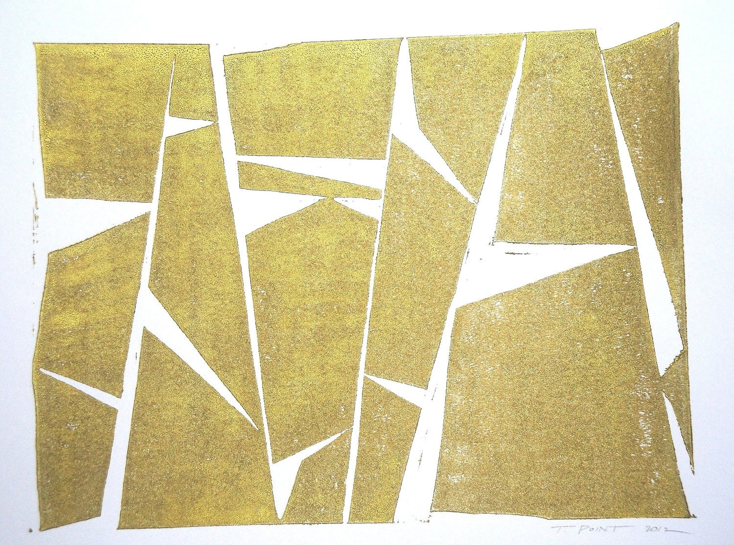 Gold Abstract and Modern Block Print